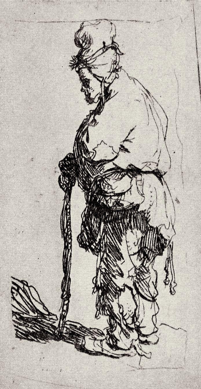 Рембрандт Харменс ван Рейн. Нищий в высокой шапке, опирающийся на палку