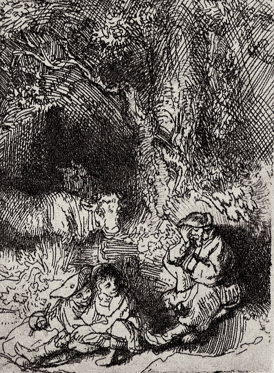 Rembrandt Harmenszoon van Rijn. Amorous couple and a sleeping shepherd