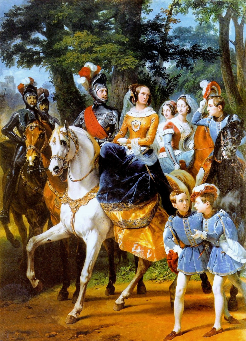 Emil-Jean-Oras Vernet. Tsarskoye Selo carousel. Family of Emperor Nicholas I in fancy dress