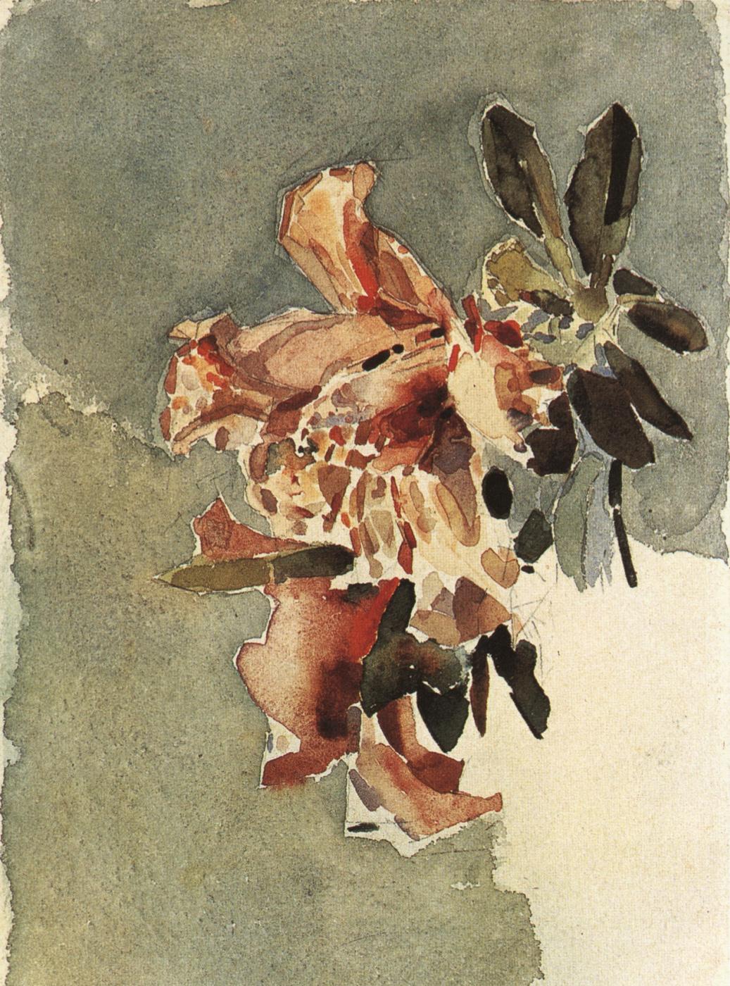 Mikhail Vrubel. Red Azalea (the Two flowers)