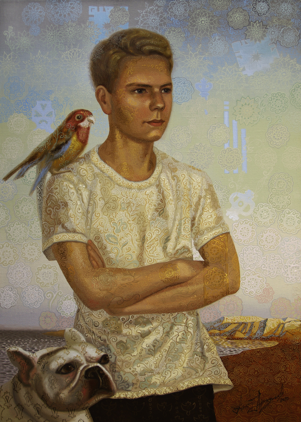 Алексей Петрович Акиндинов. Portrait of a young man with a dog and a parrot