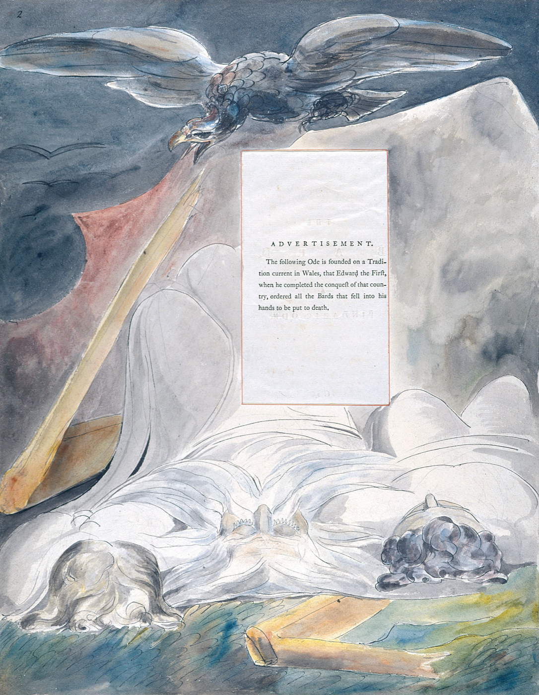 William Blake. Illustrations to the poems. Bard. Pintoresca ode. Sheet 2