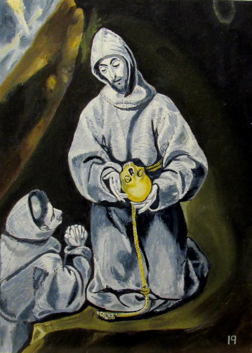 Artashes Vladimirovich Badalyan. El Greco (and workshop). St. Francis and brother Leo reflect on death - x-hardboard - 35x25