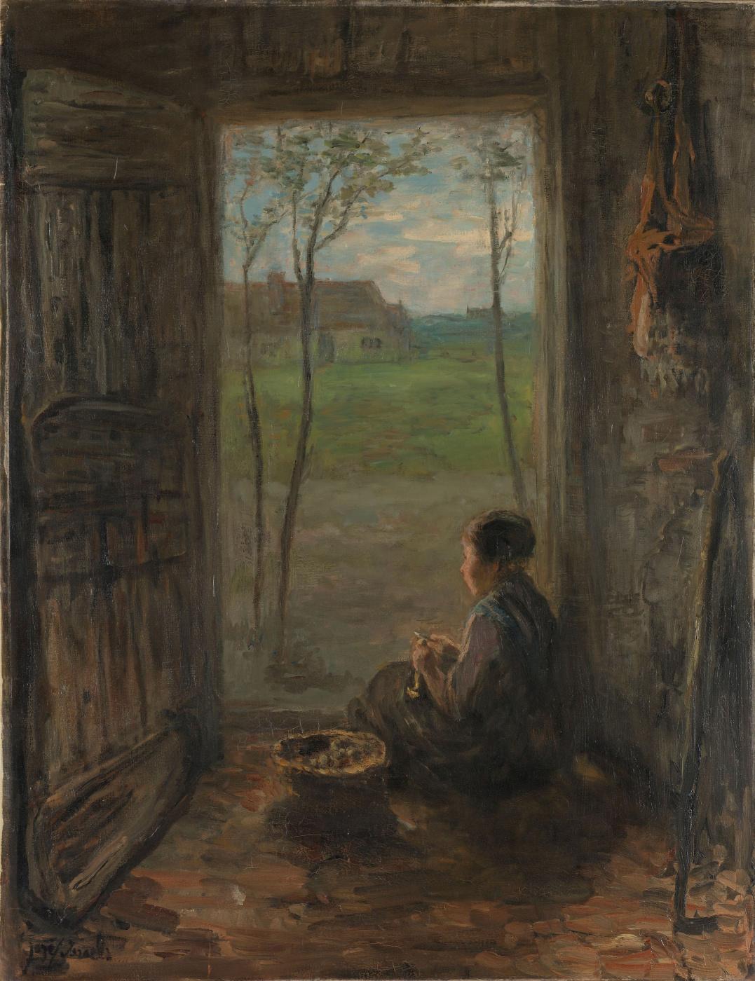 Joseph Israel. Scene in Laren. Girl at the door