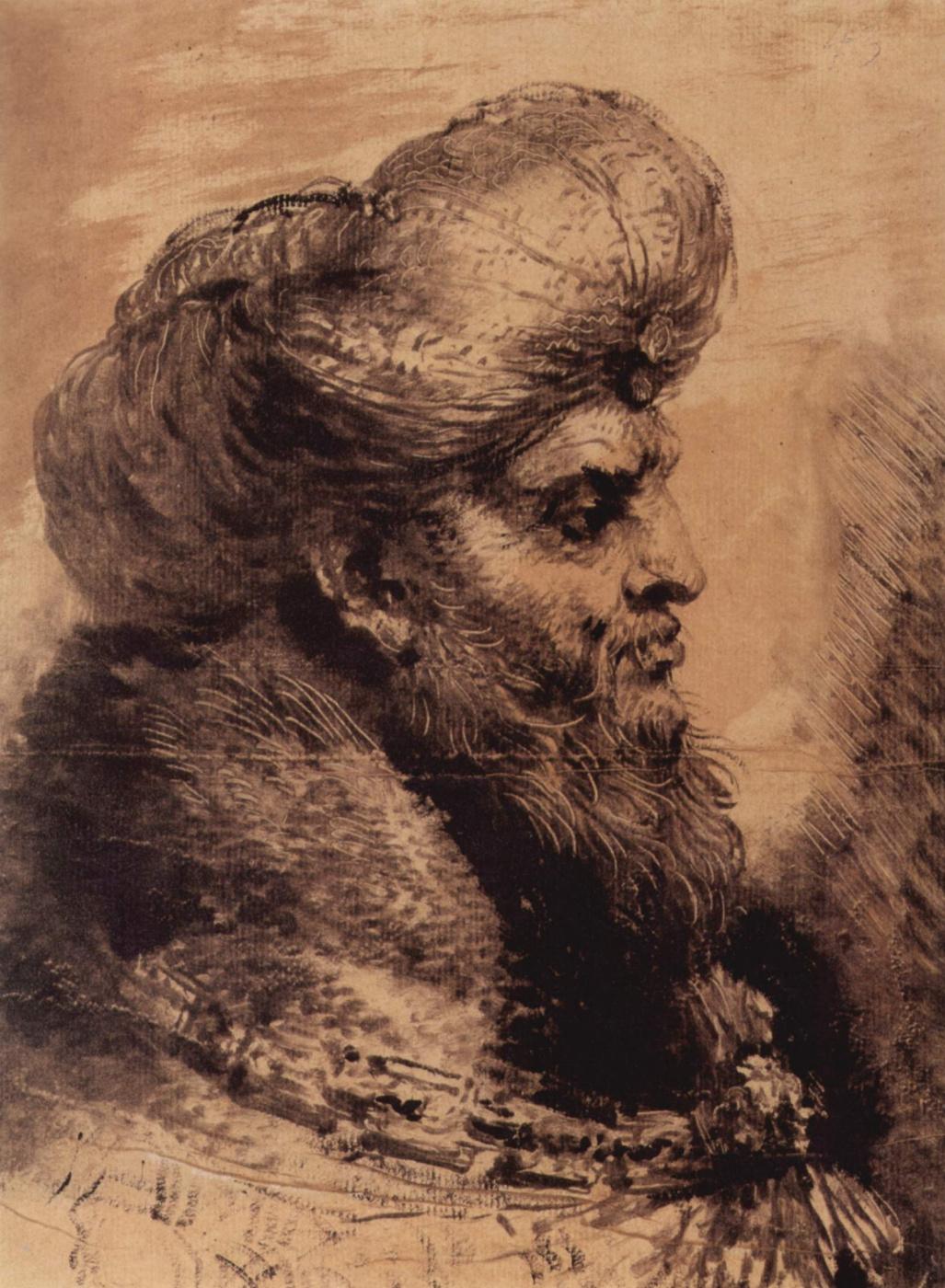 Giovanni Benedetto Castiglione. The head of a bearded Oriental
