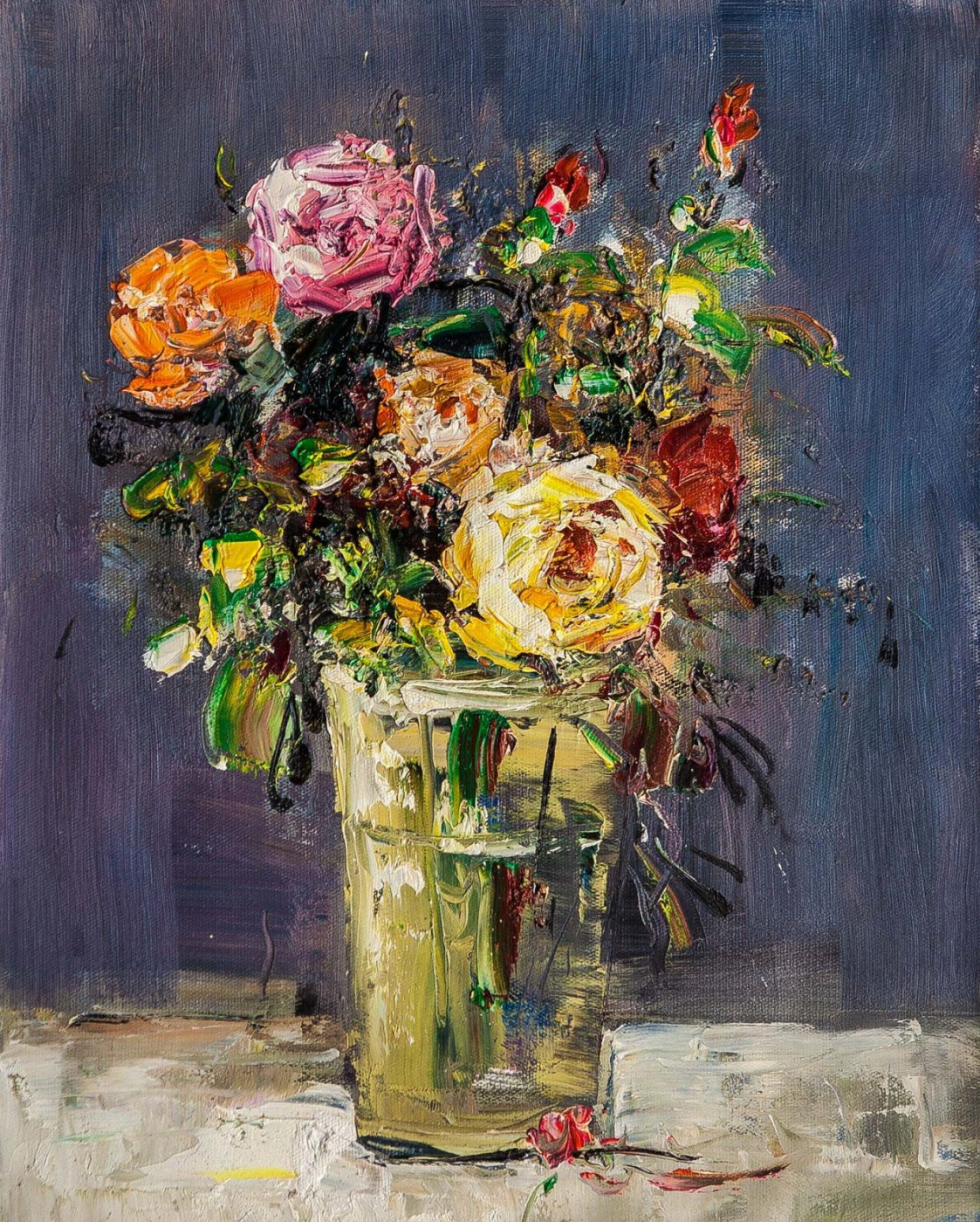(no name). Bouquet of roses in a glass vase