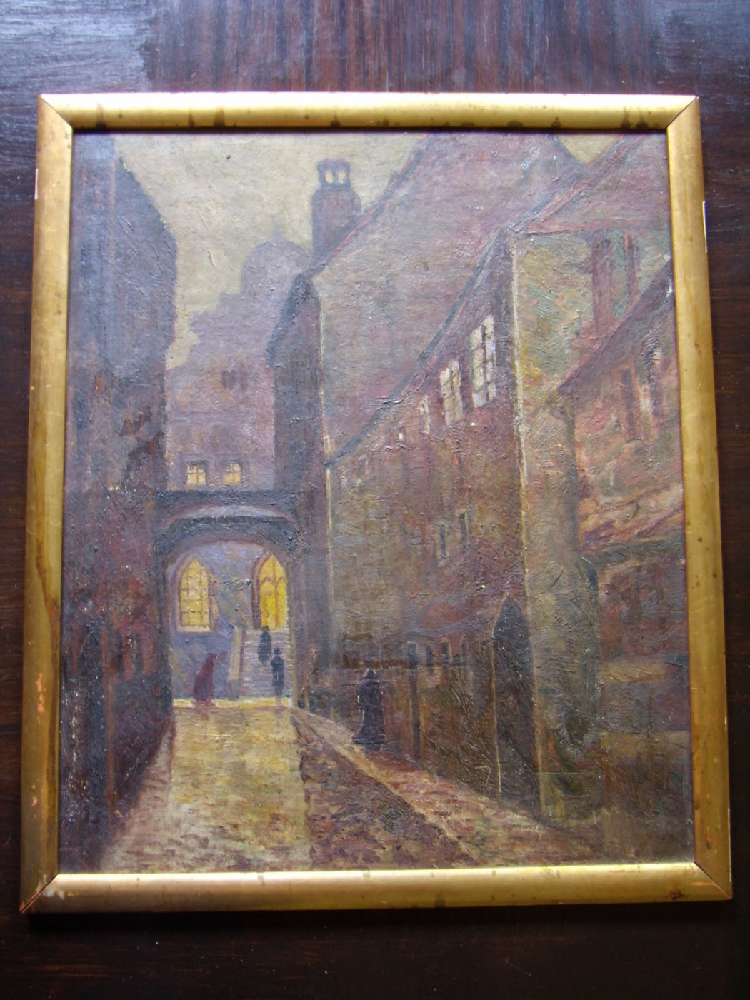 Unknown artist. Narrow streets of the old city at night.
