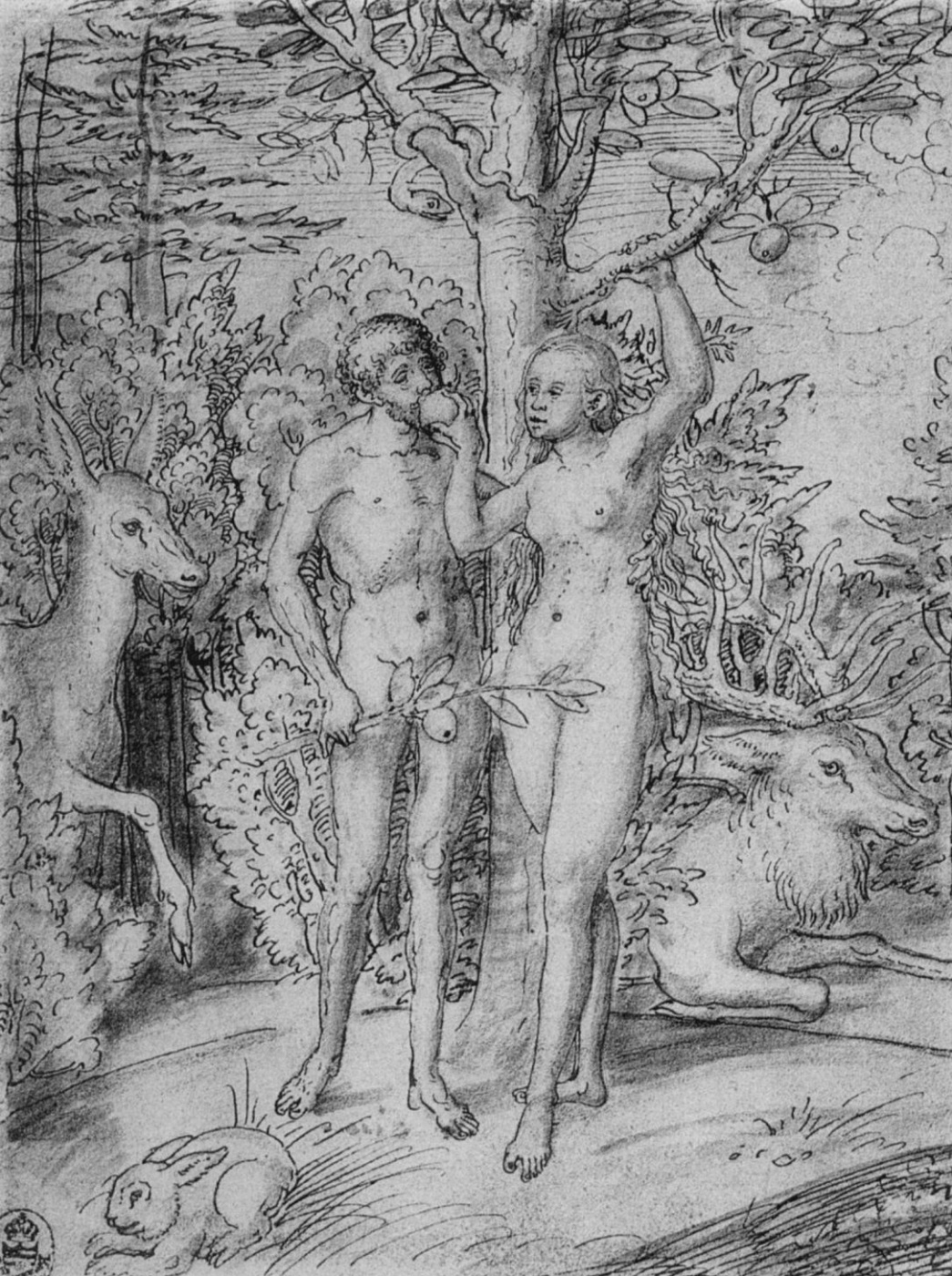 Lucas Cranach the Elder. Adam and eve in Paradise