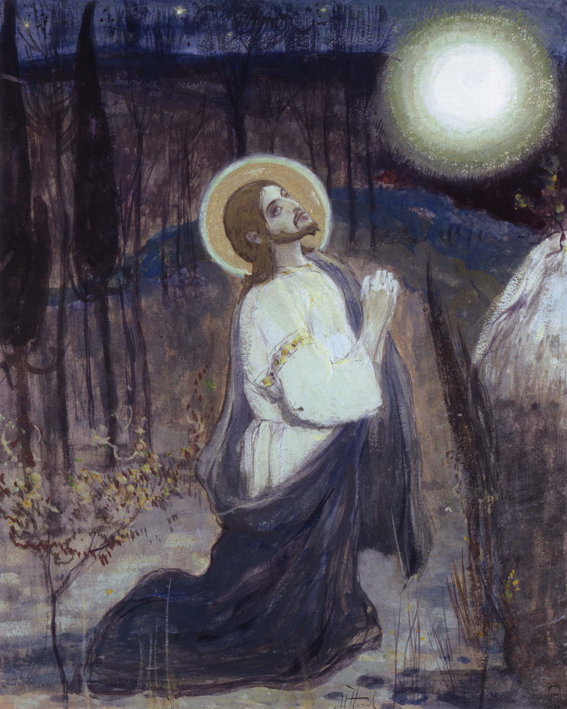 Mikhail Vasilyevich Nesterov. Agony in the garden. The sketch for the painting the South wall of the Church in the name of blagovernogo Prince Alexander Nevsky