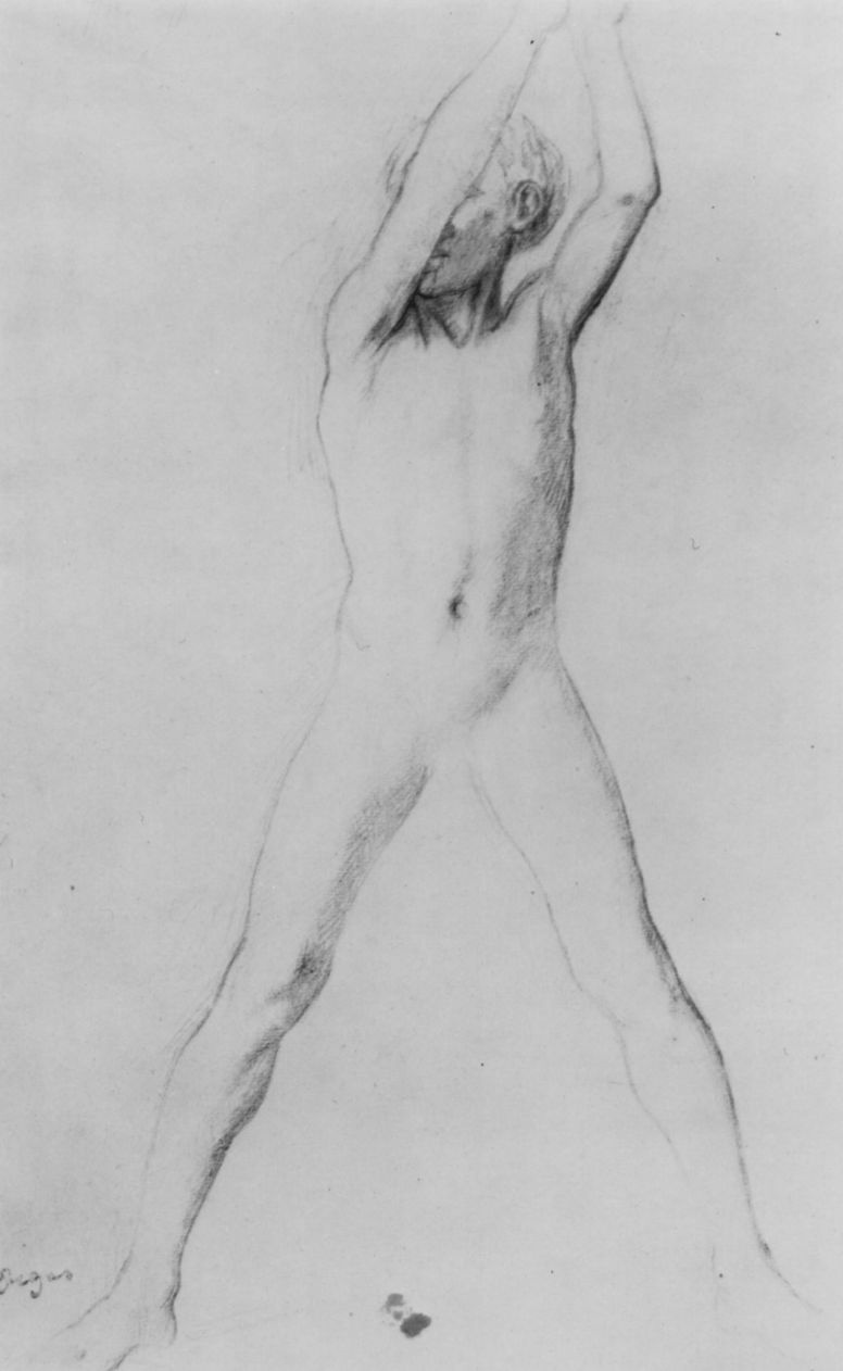 Edgar Degas. A naked boy with his hands raised and legs apart
