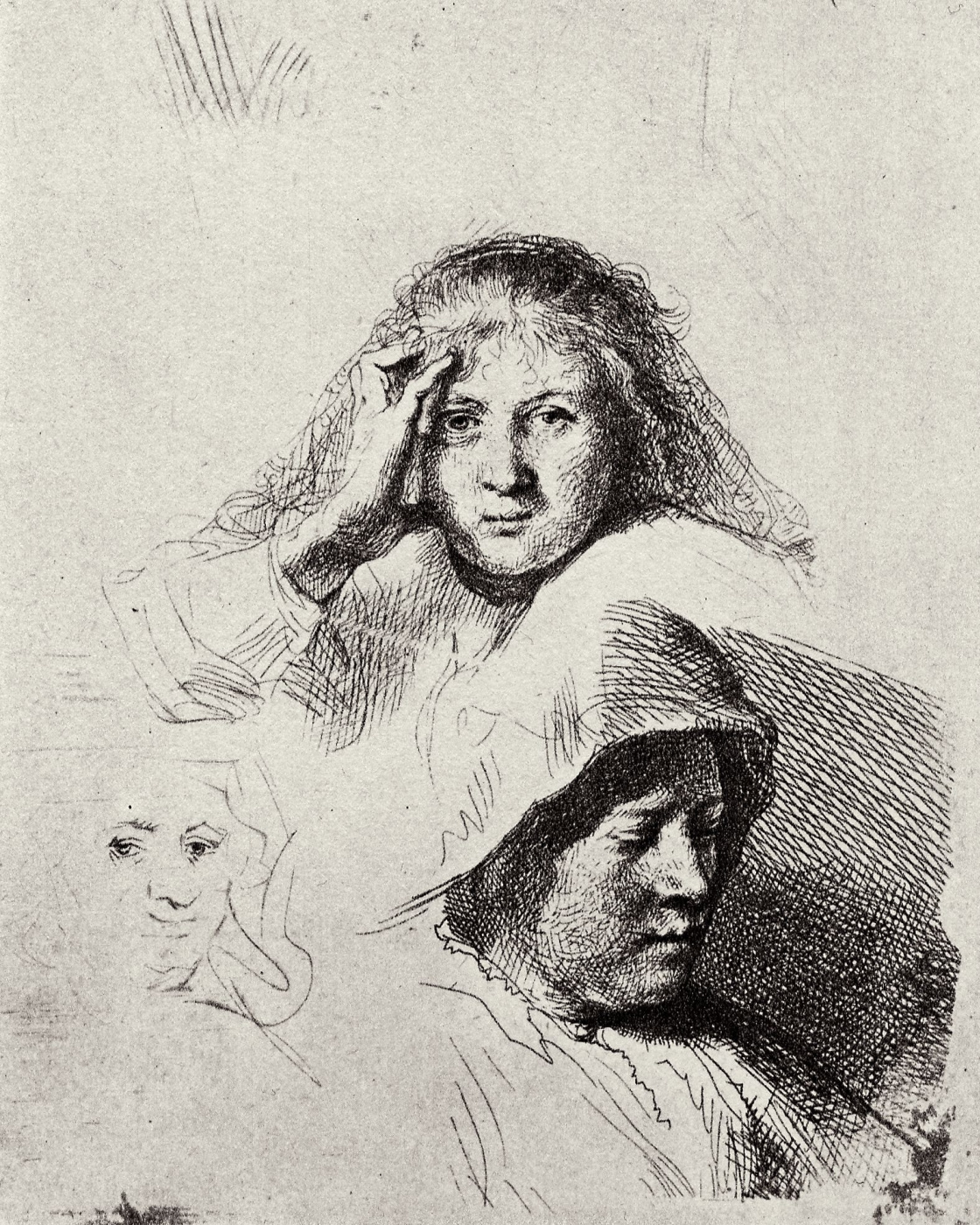 Rembrandt Harmenszoon van Rijn. Outline three female heads with a portrait of Saskia
