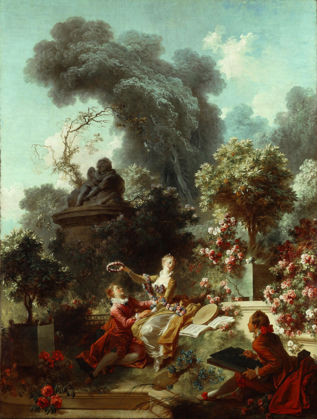 """Jean-Honore Fragonard. A wreath lover. From series of paintings """"Love adventure"""""""