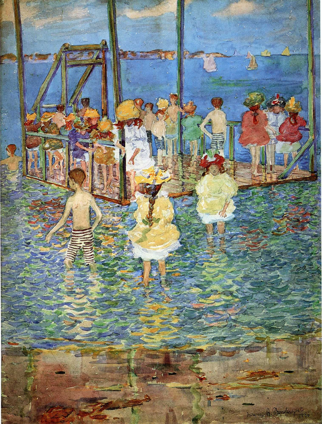Maurice Braziel Prendergast. Children on a raft