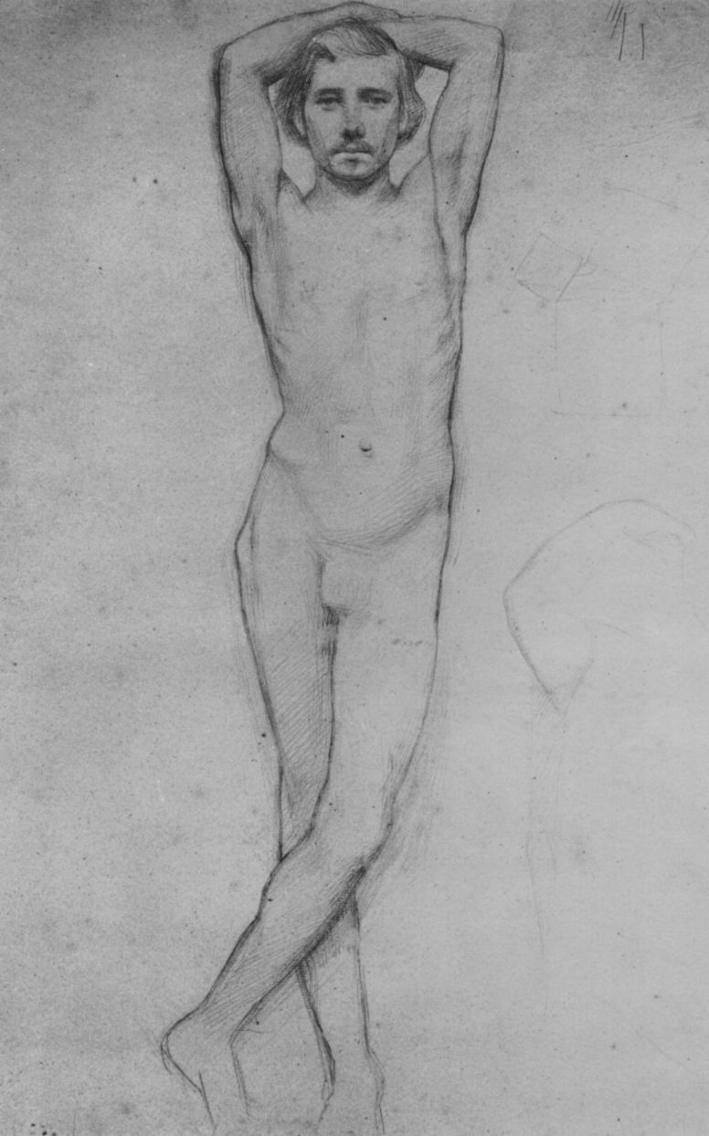 Edgar Degas. Sitter with crossed behind the head with hands