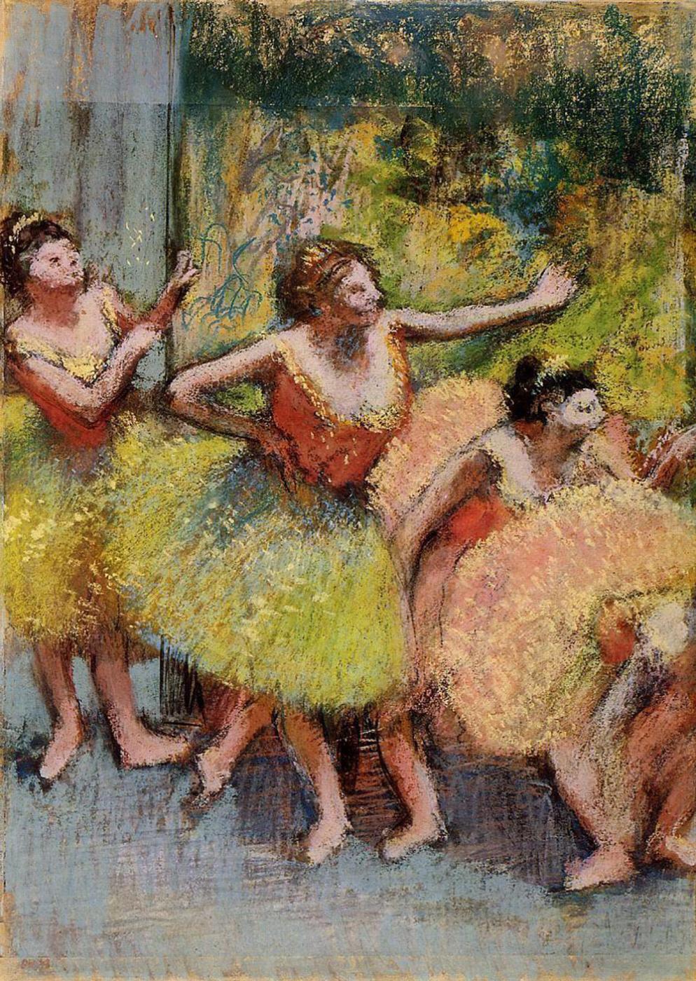 Edgar Degas. Dancers in green and yellow