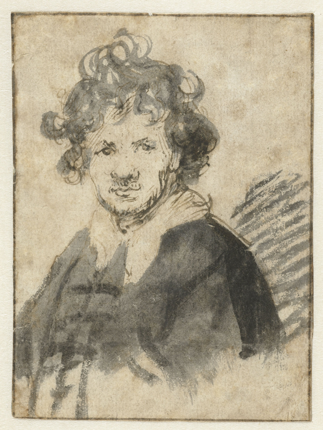 Rembrandt Harmenszoon van Rijn. Self portrait with tousled hair