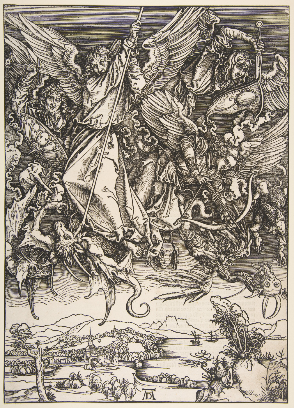 Albrecht Durer. The battle of Archangel Michael with the dragon.From the series the Apocalypse.