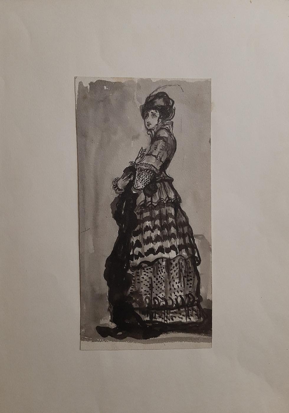 Natalia Nikolaevna Agapieva - Zakharova. Portrait of a woman in a dress of the 19th century