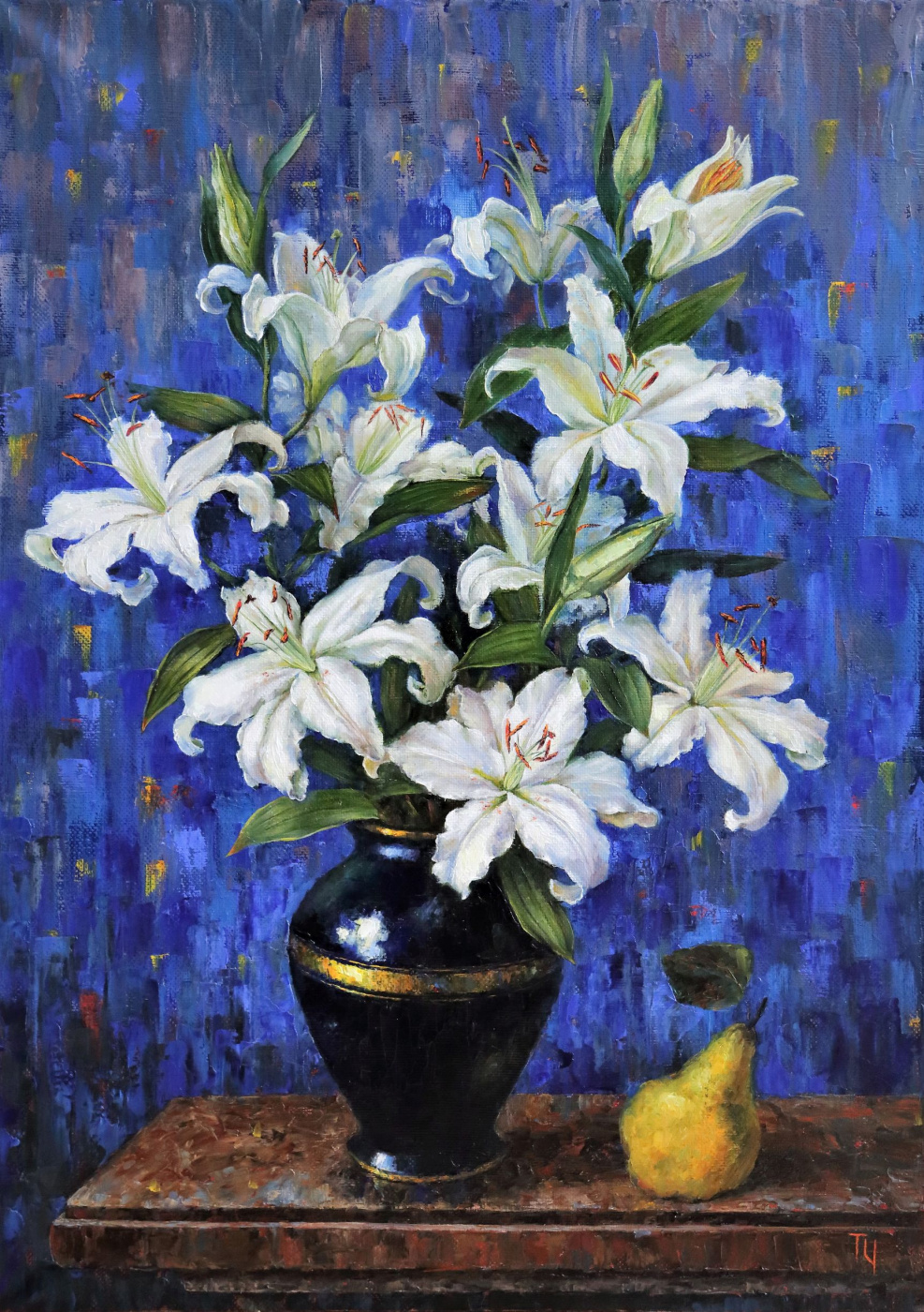 Tatyana Chepkasova. White lilies on blue background