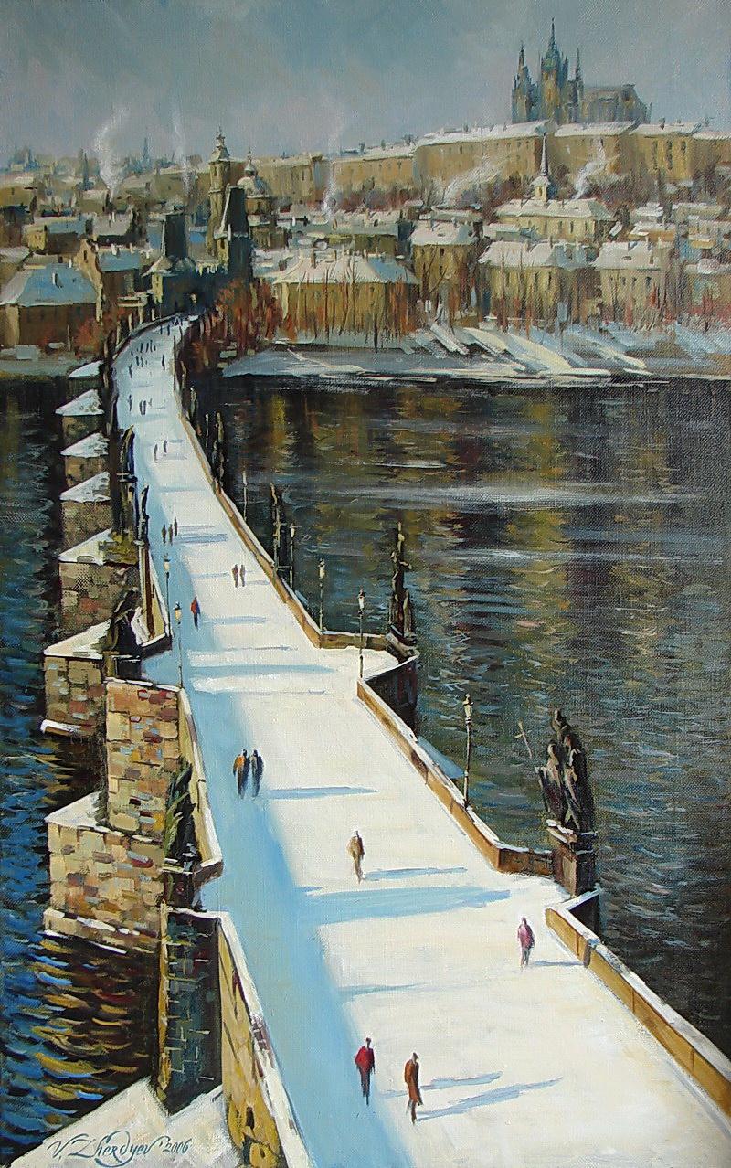 Виталий Викторович Жердев. Prague. Charles bridge in winter by Vitaliy Zherdev. Oil on canvas. 105 x 65 cm