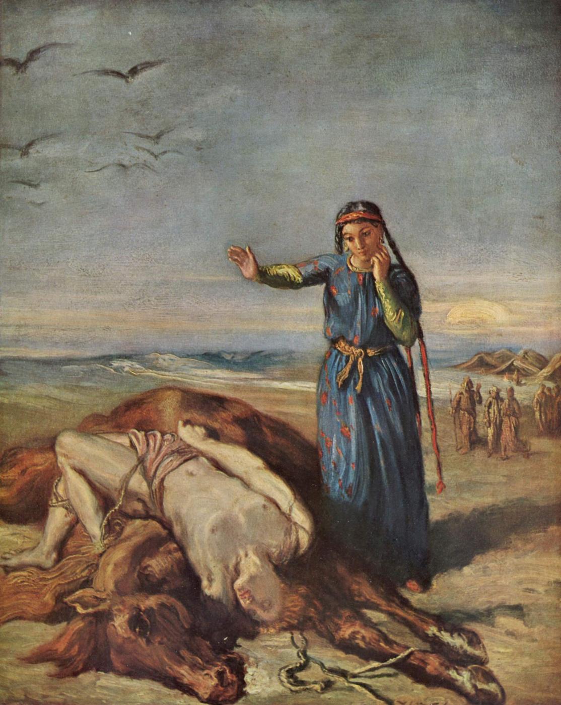 Theodore Chassiorio. Girl-Cossack over the body of Mazeppa