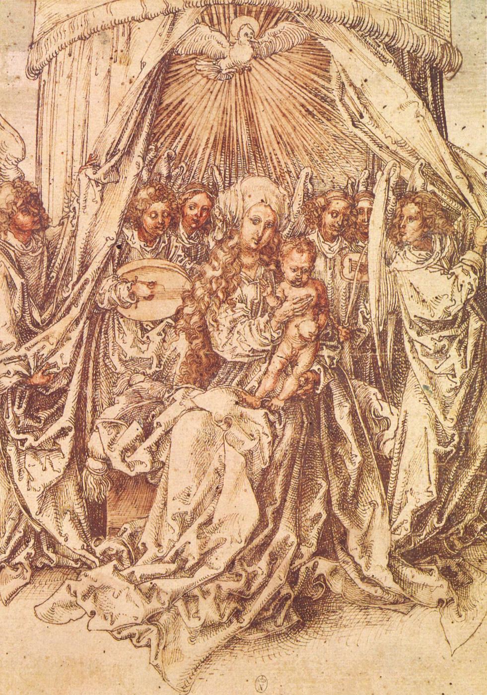 Albrecht Dürer. Madonna with angels under a canopy