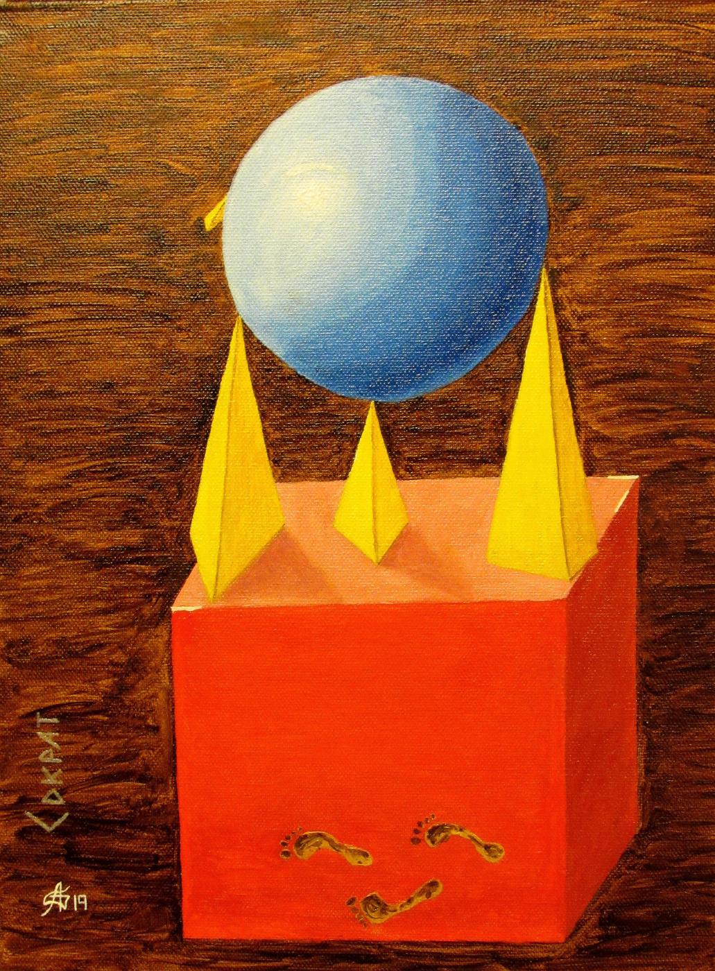 "Artashes Badalyan. Socrates (from the cycle of ""Symbolic geometry"") - xm - 40x30"