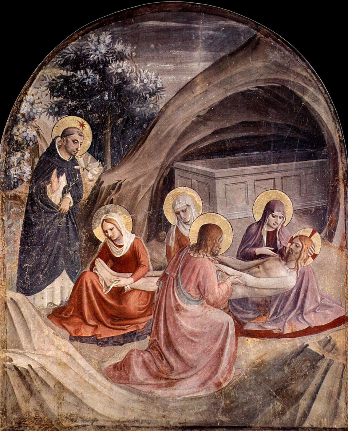 Fra Beato Angelico. Position in the coffin. Fresco of the Monastery of San Marco, Florence