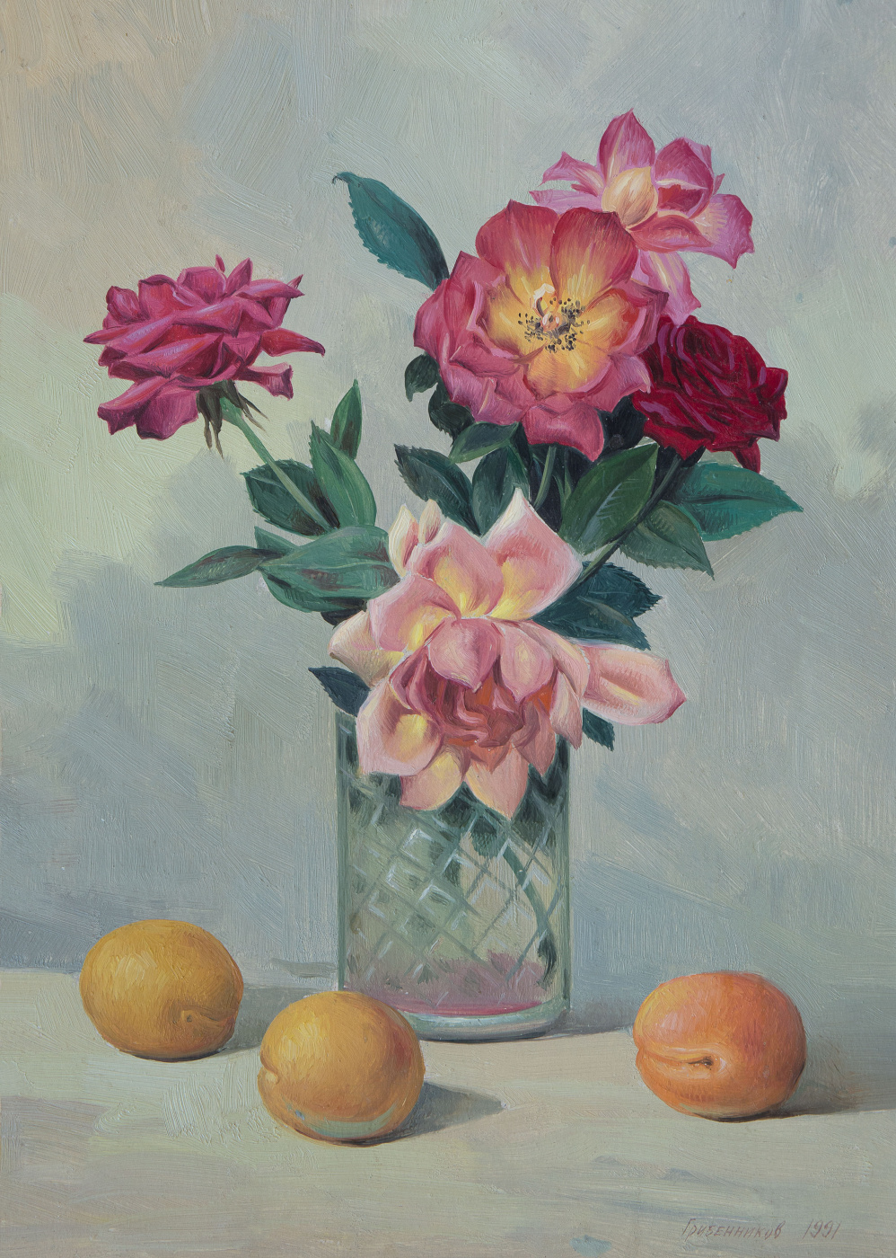 Vasily Ivanovich Gribennikov. Still-life with roses