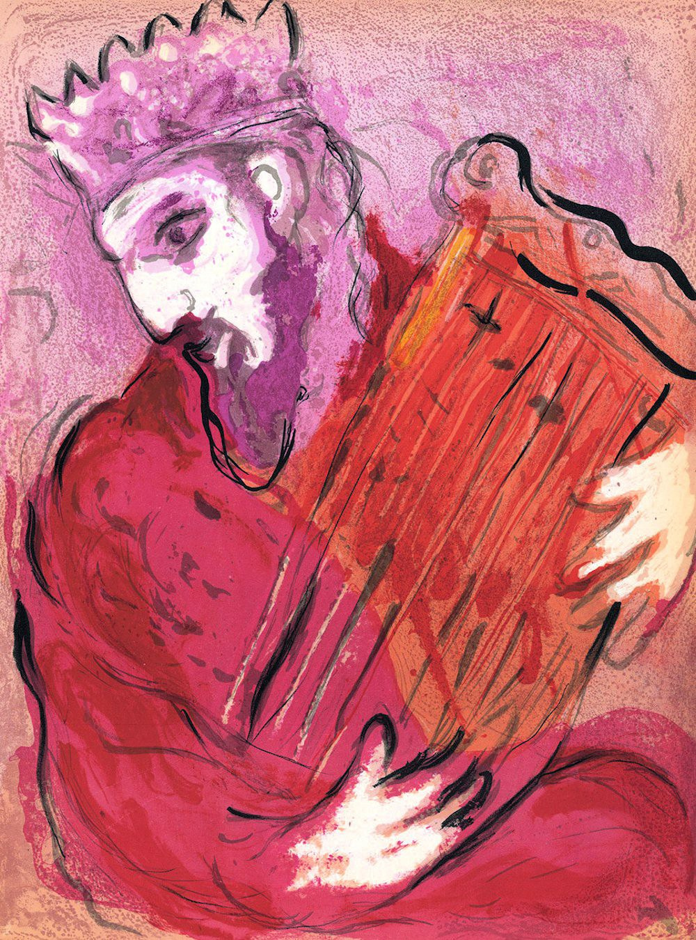 Marc Chagall. David playing the harp. The series of illustrations to the Bible