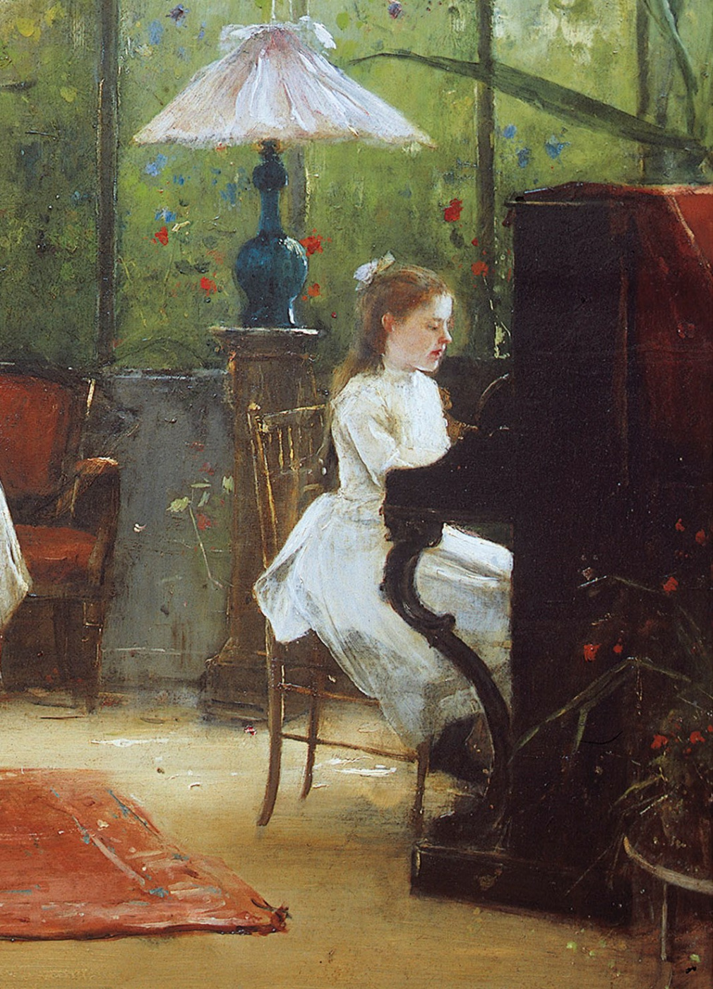 Mihály Munkácsy. Interior with girl at the piano. Fragment. Playing music girl
