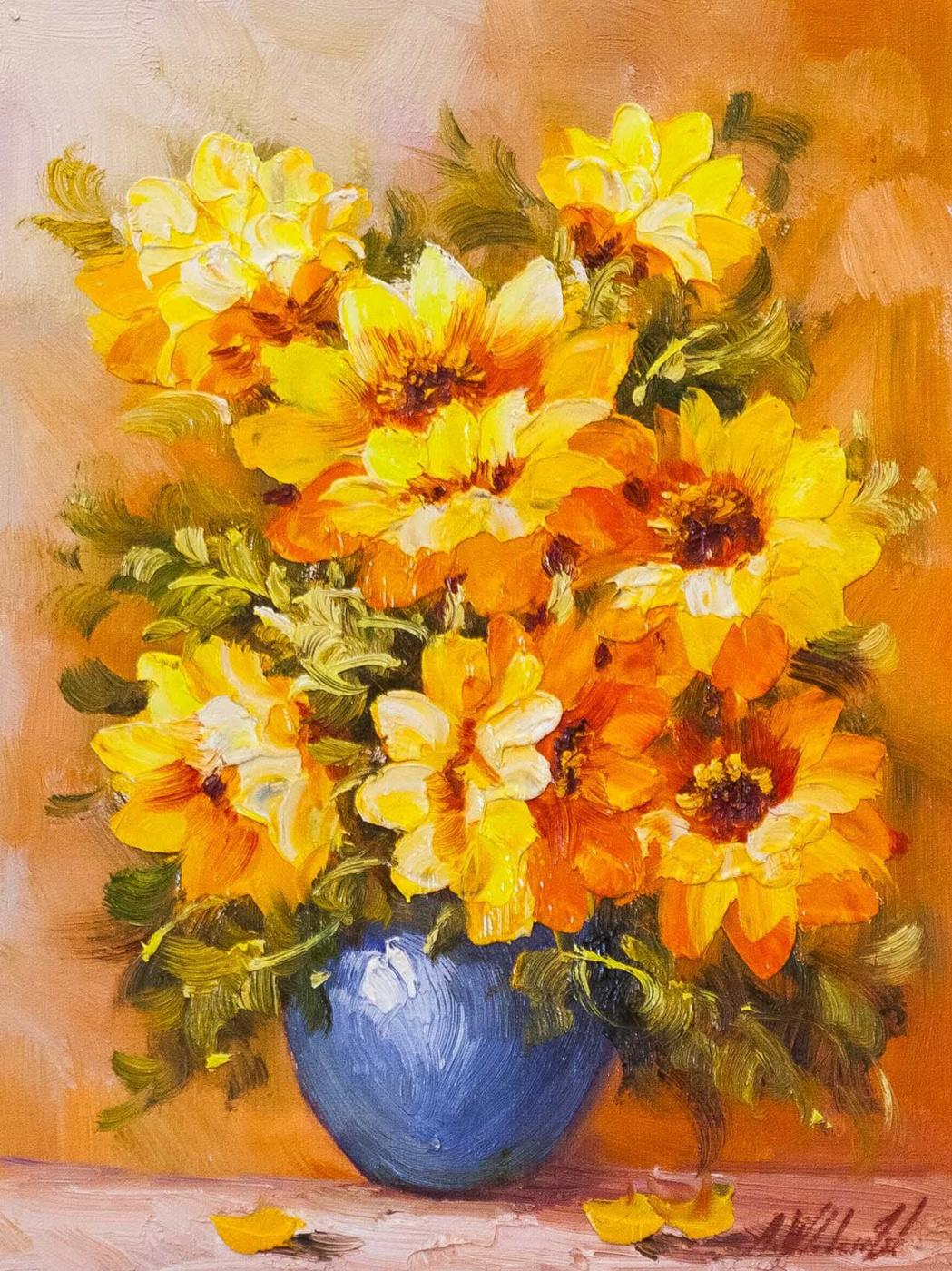 Andrzej Vlodarczyk. Sunflowers in a blue vase N2