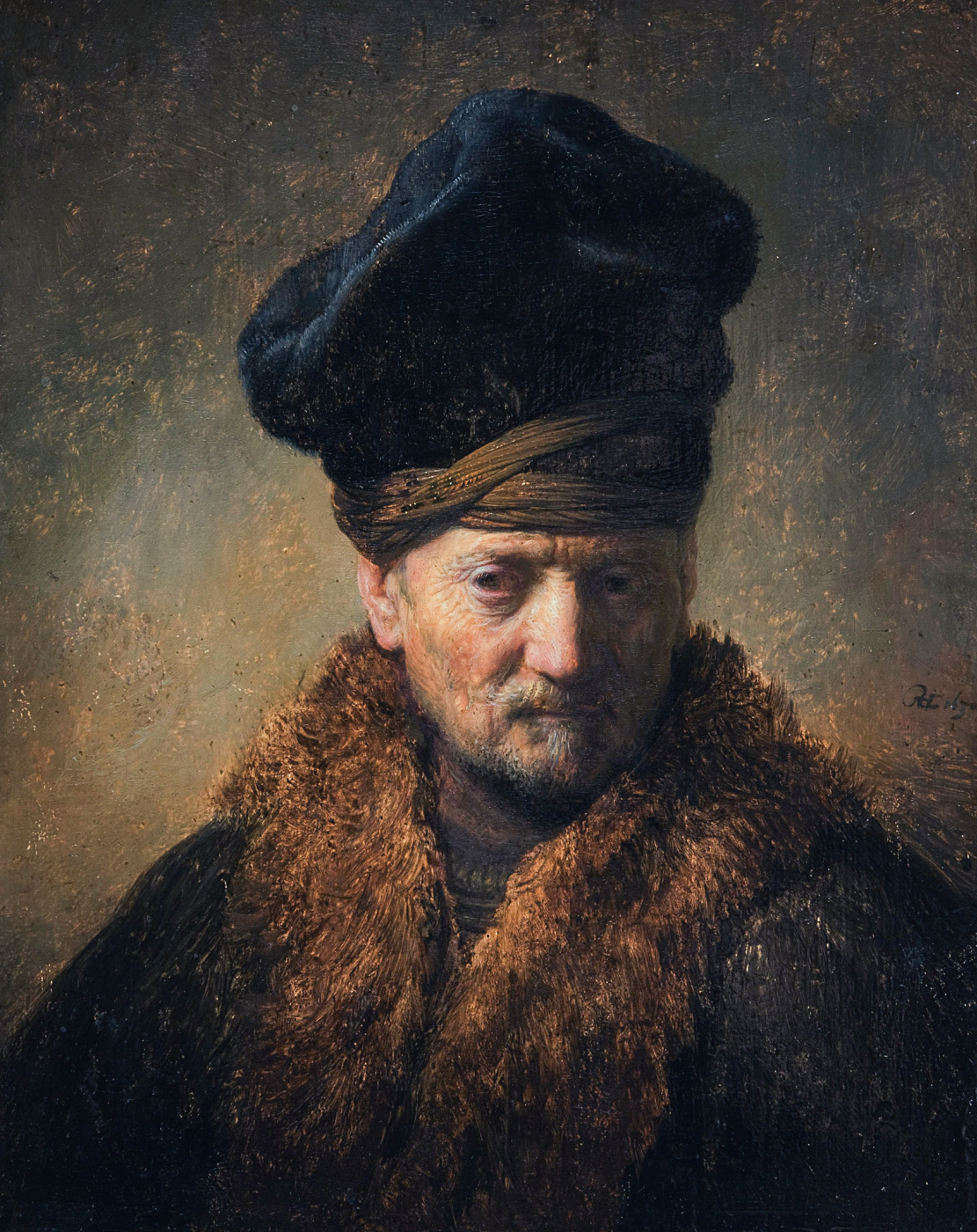 Rembrandt Harmenszoon van Rijn. Bust of an old man in a fur hat