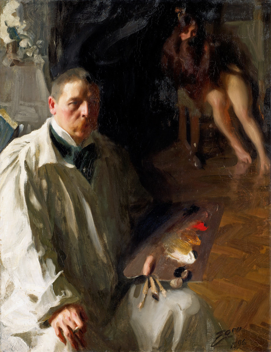 Anders Zorn. Self-portrait with model