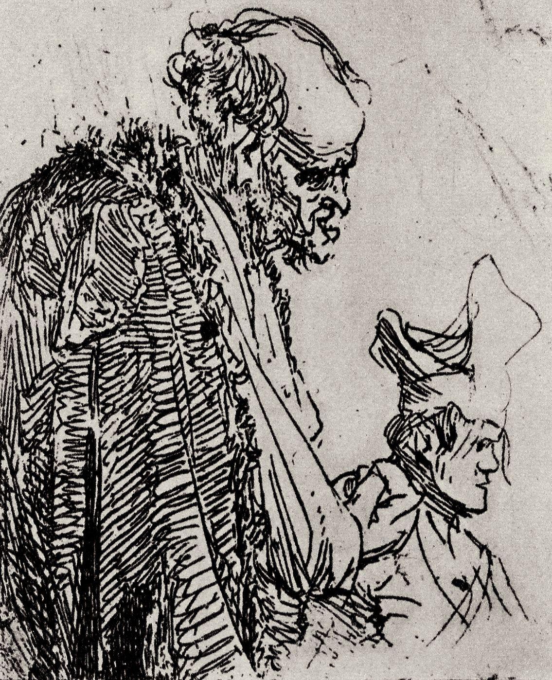 Rembrandt Harmenszoon van Rijn. Two sketches of beggars