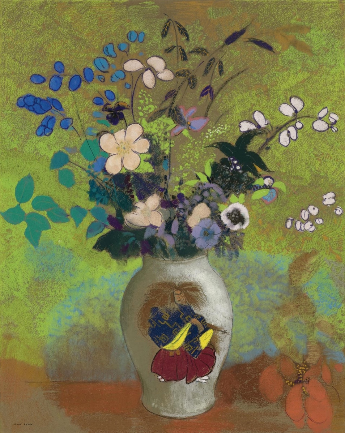 Odilon Redon. Flowers in a Japanese Vase with a Warrior