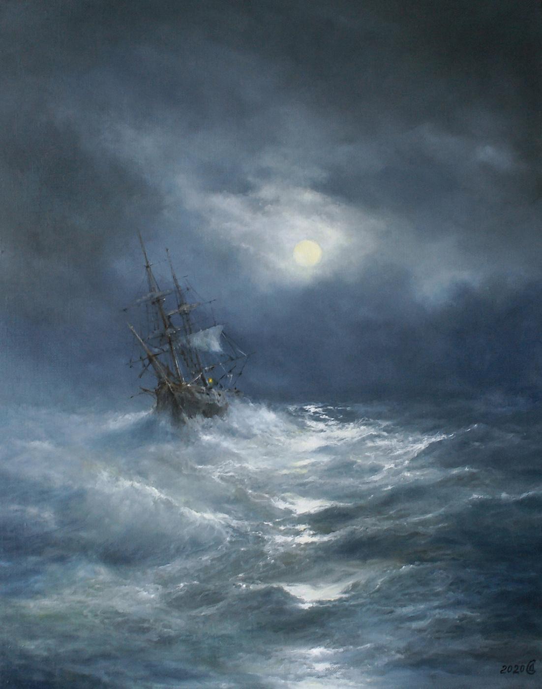 Сергей Владимирович Дорофеев. Storm on a moonlit night
