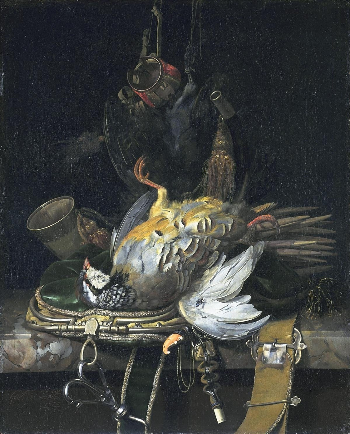 Willem van Aelst. Still life with game and hunting paraphernalia