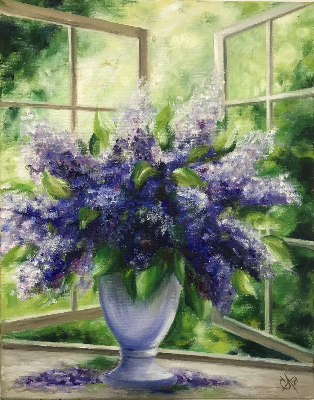 Svetlana Arkhipova. A bouquet of lilacs by an open window