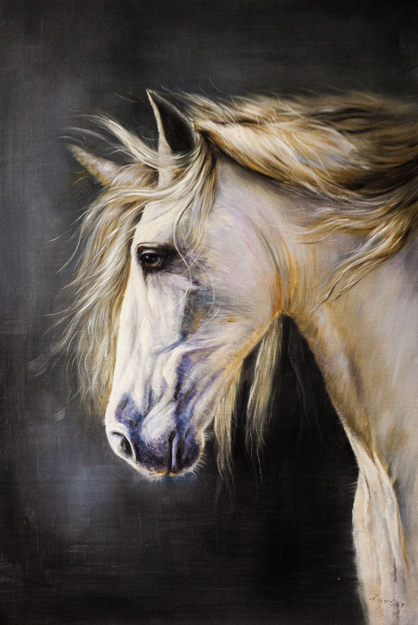 Savely Kamsky. Portrait of a horse with a golden mane