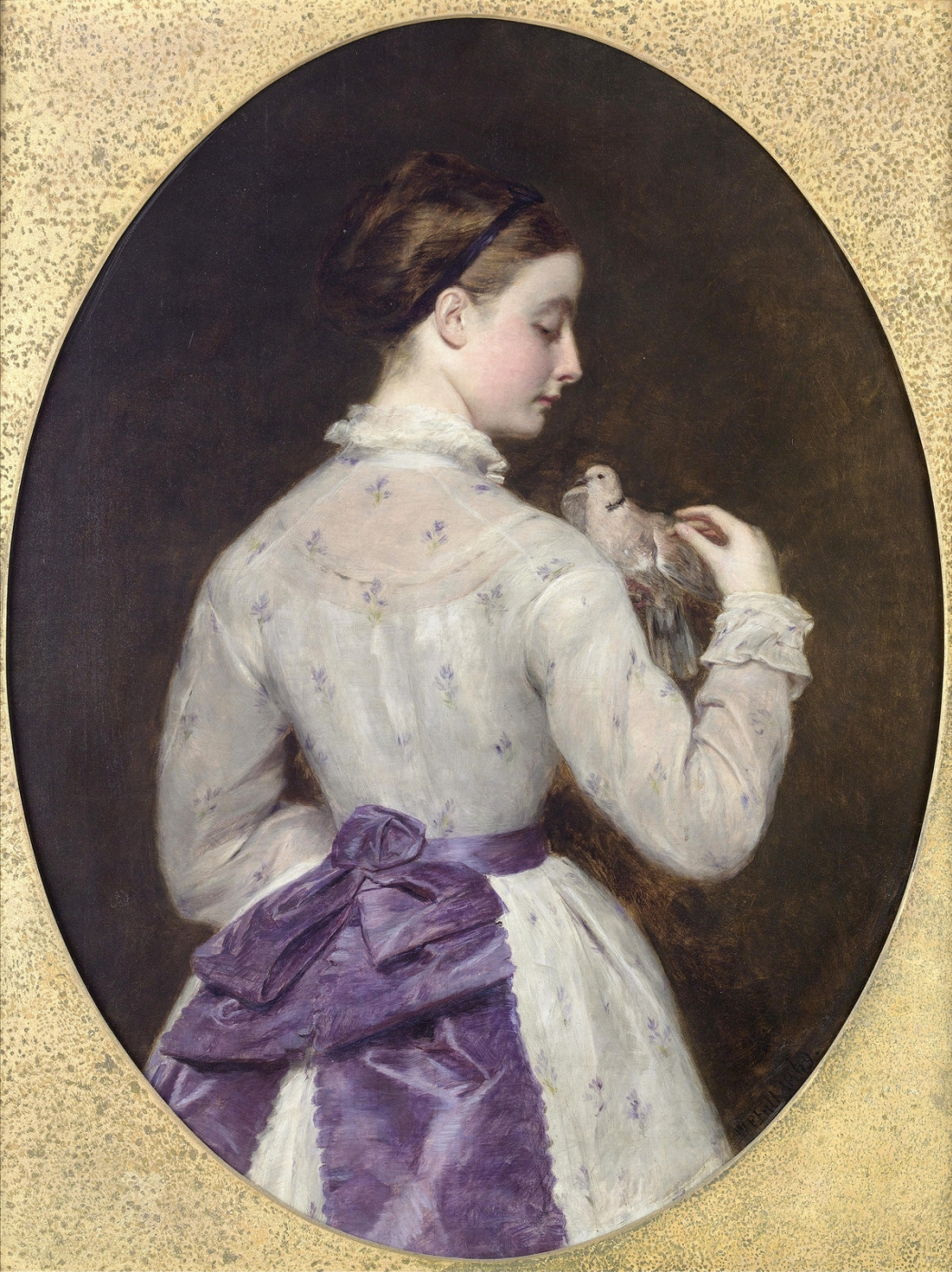 William Frayth Powell UK 1819-1909. Two pigeons. 1869