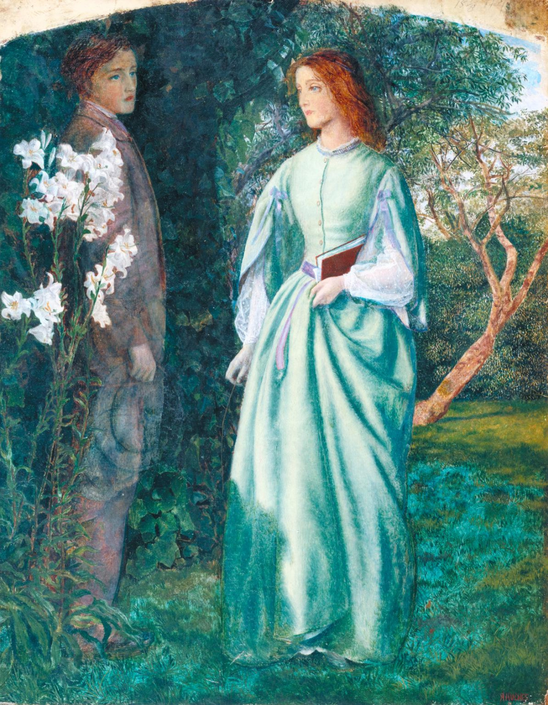 "Arthur Hughes. Aurora and Romney, a scene from the poem ""Aurora Lee"""