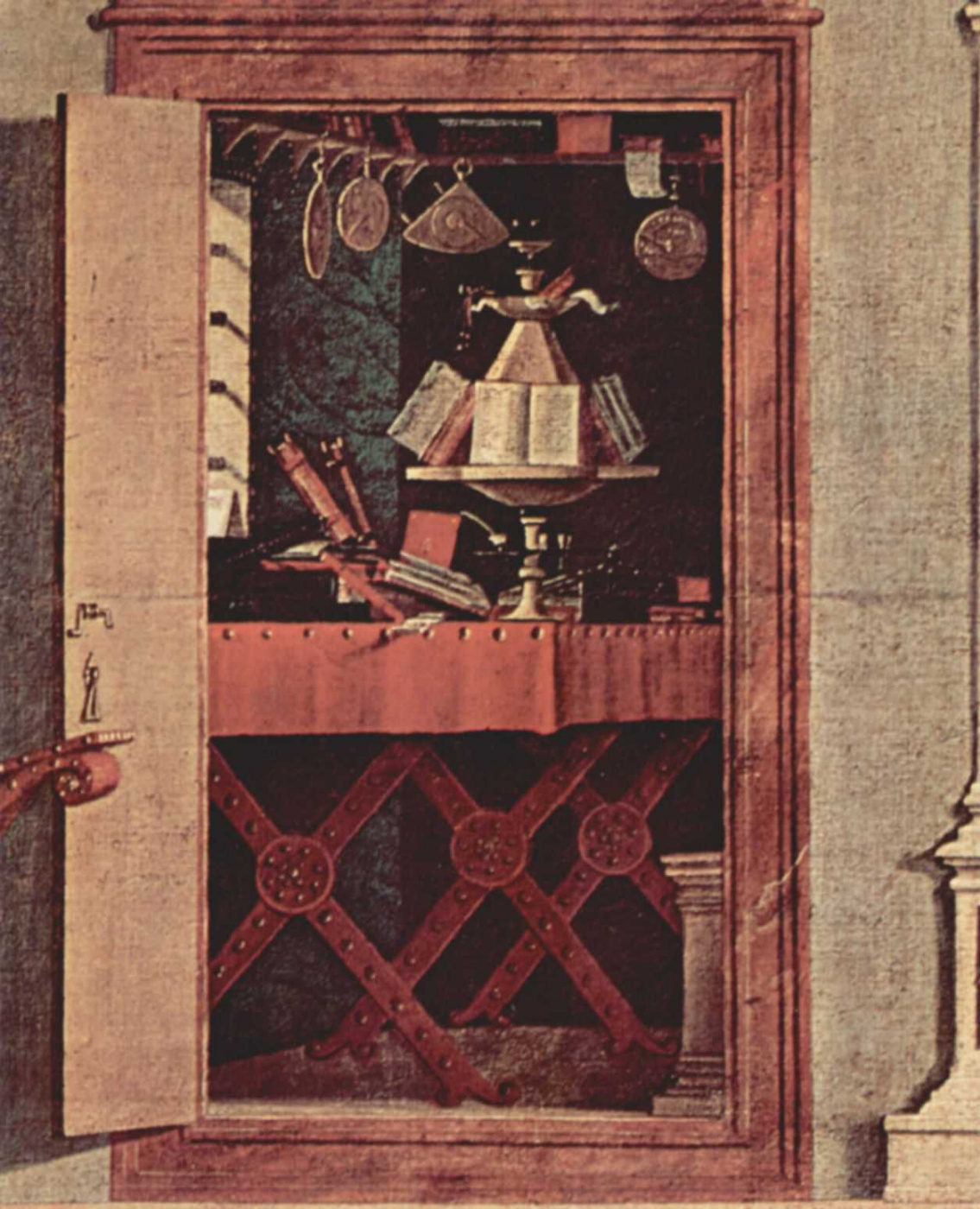 Vittore Carpaccio. The cycle of paintings of the chapel of the Scuola di San Giorgio Schiavoni. The scene of the vision of St. Augustine. Detail
