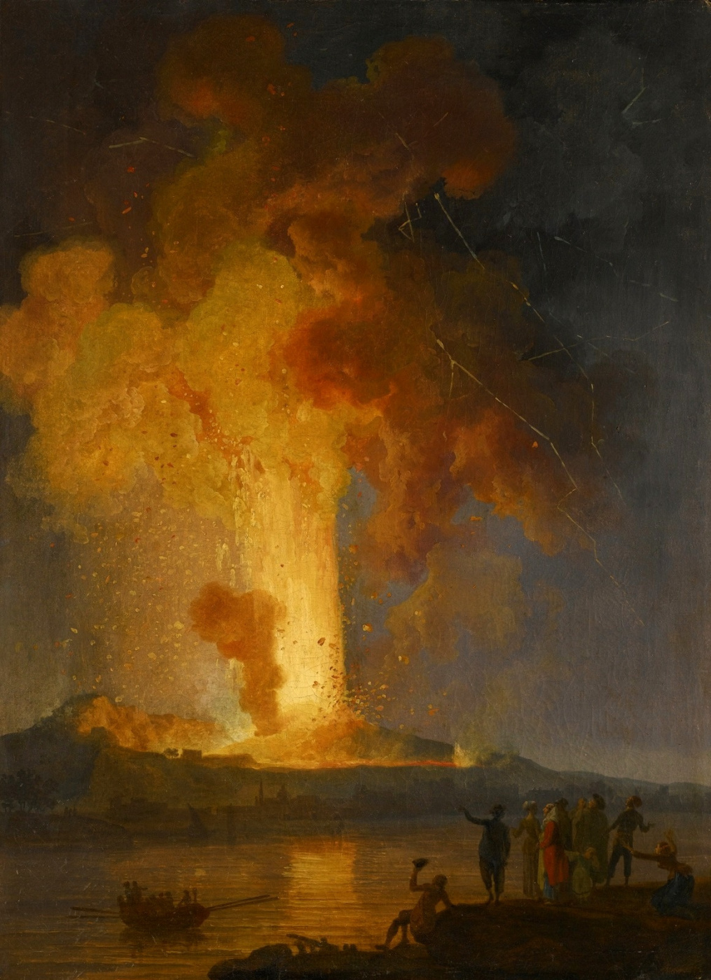 Pierre-Jacques Woller. Vesuvius eruption at night with viewers in the foreground.