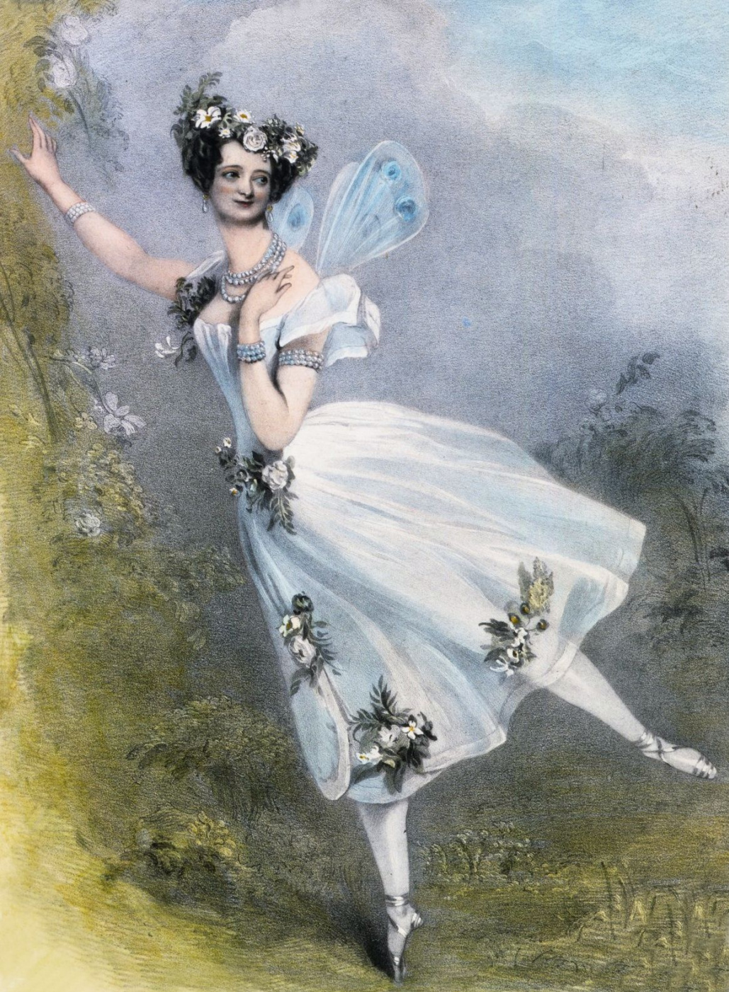 "Alfred Edward Chalon. Marie Taglioni in the ballet ""Zephyr and flora"" by Charles Louis Didelot"