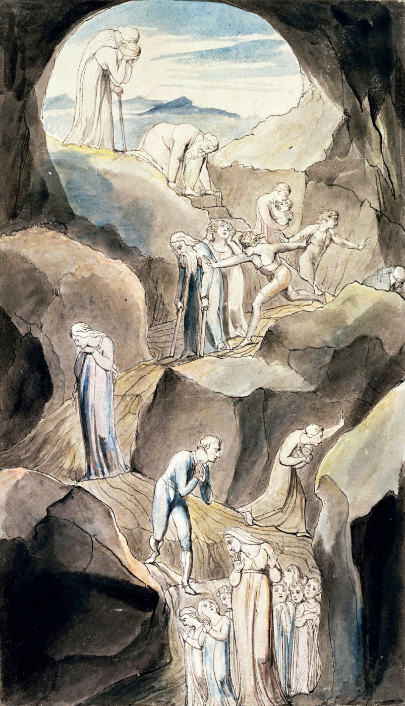 """William Blake. The descent of people into the Valley of Death. Illustration to the poem by Robert Blair's """"the Grave"""""""