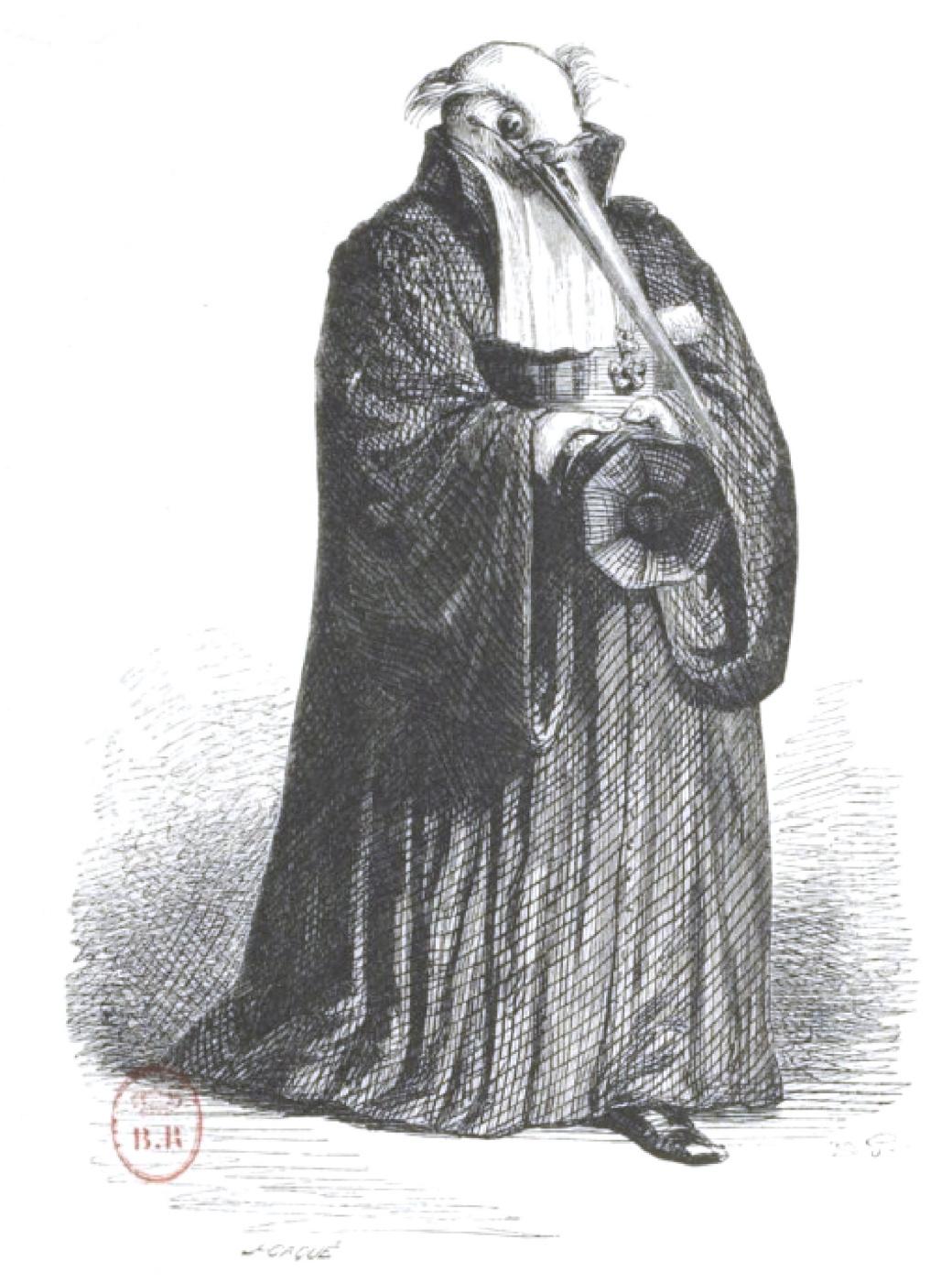 "Jean Inias Isidore (Gerard) Granville. Stork-judge. ""Scenes of public and private life of animals"""