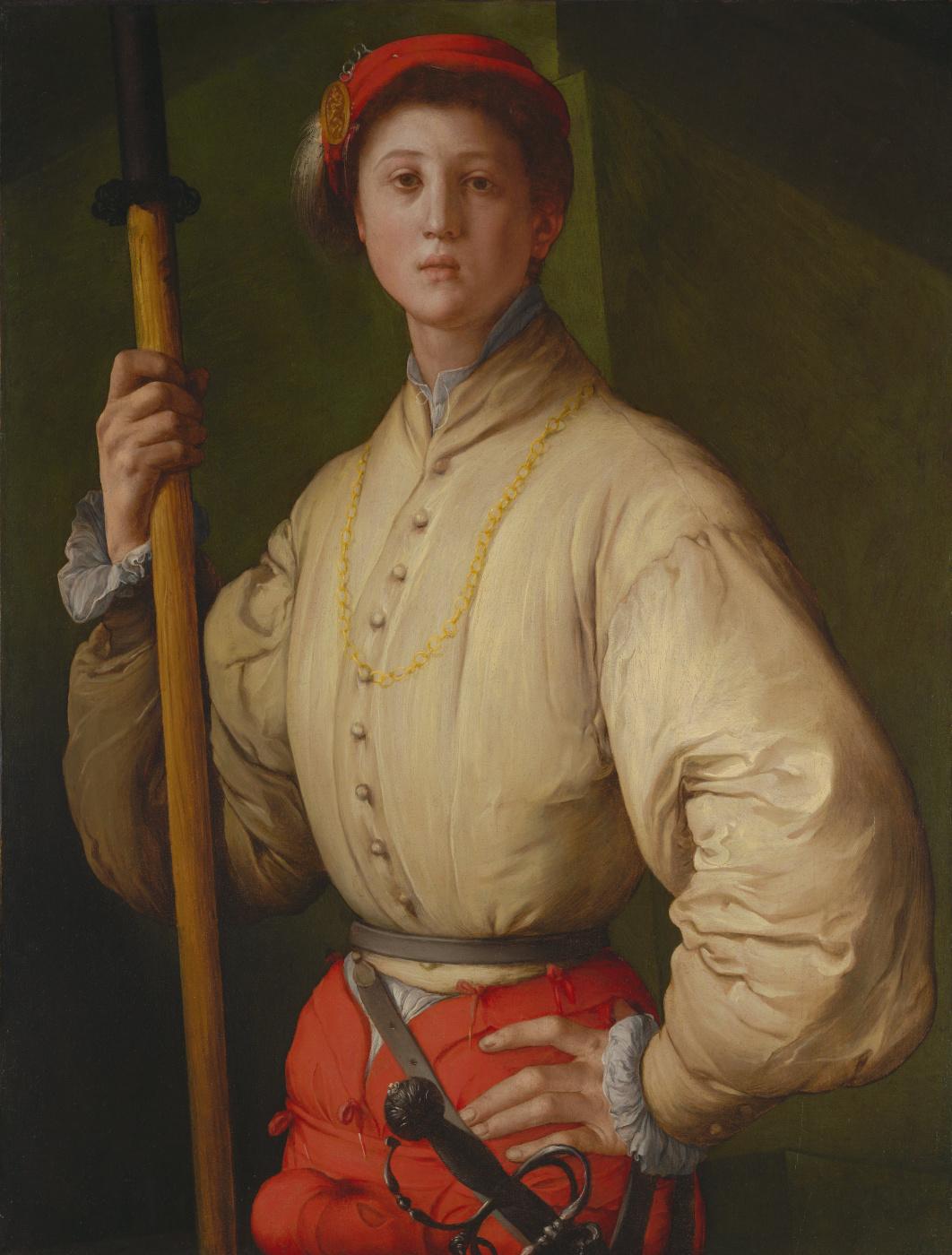 Jacopo Pontormo. Portrait of a young man with a halberd (Francesco Guardi?)