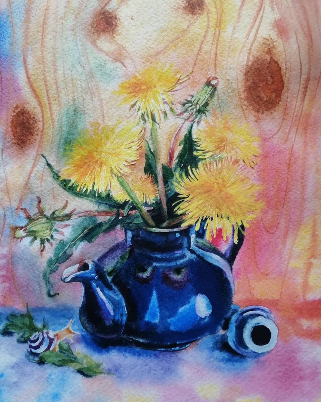 Polina Komkova. Still life with dandelions (author's picture)