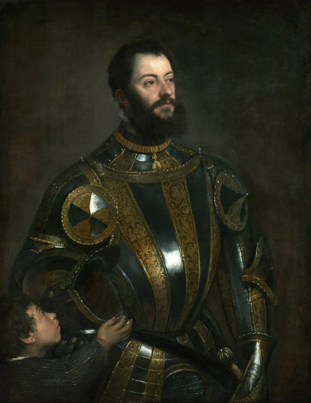 Titian Vecelli. Alfonso d Avalos, Marquis del Vasto, in armour with his page